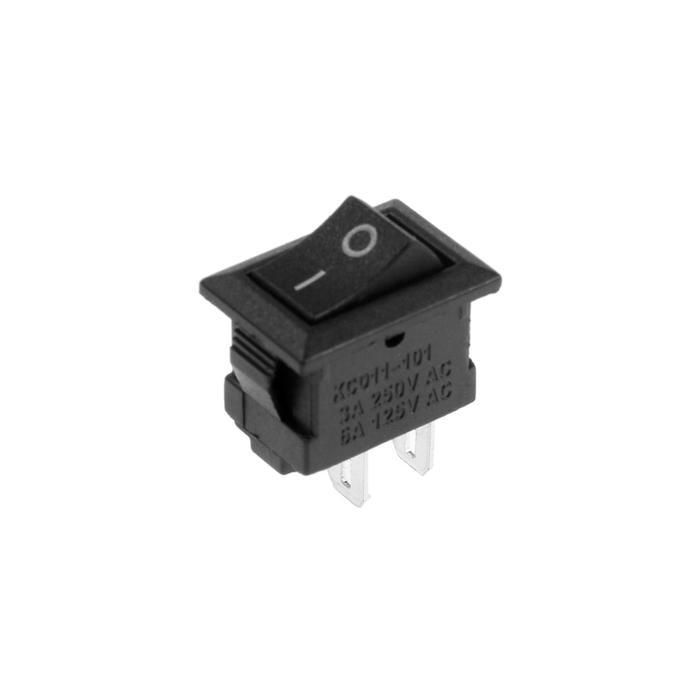Клавишный выключатель, 250 В, 3 А, ON-OFF, 2c, черный