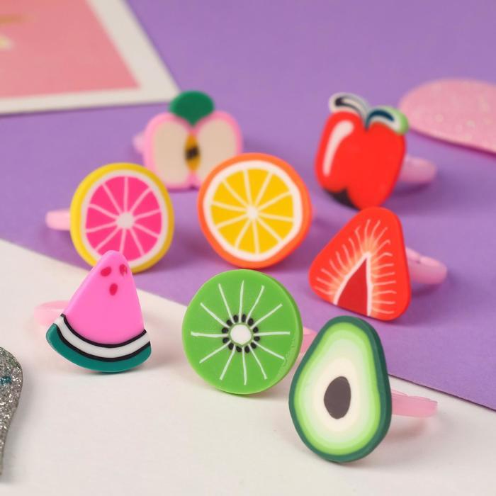 """Кольцо детское """"Выбражулька"""" фруктовое ассорти, форма МИКС, цветное, безразмерное"""