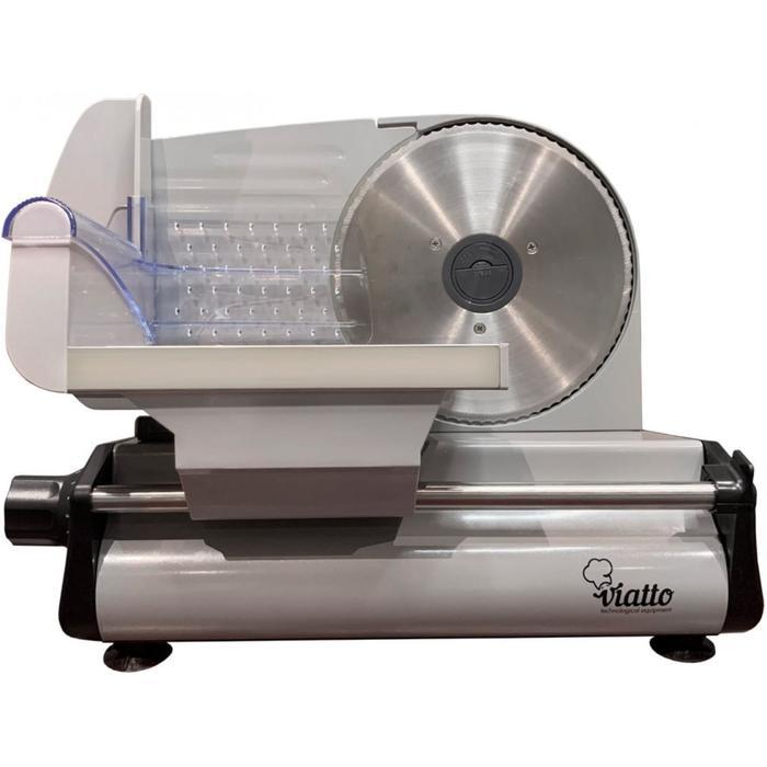 Ломтерезка VIATTO VA-MS1918, 150 Вт, толщина нарезки до 15 мм, чёрно-серебристая