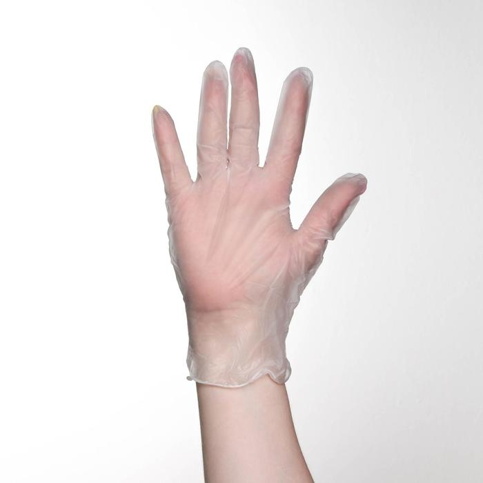 Перчатки хозяйственные виниловые, размер M, 100 шт/уп, цена за 1 шт