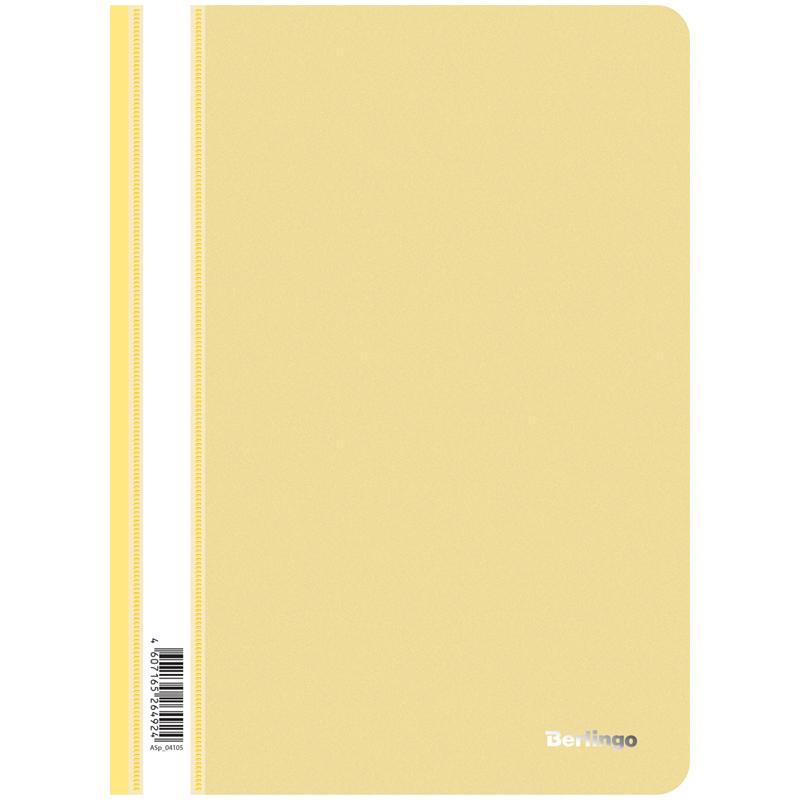 Папка-скоросшиватель пластик. Berlingo, А4, 180мкм, желтая с прозр. верхом