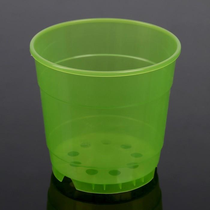 """Горшок для цветов 0,75 л """"Орхидея"""", D=12 см, цвет зелёный"""
