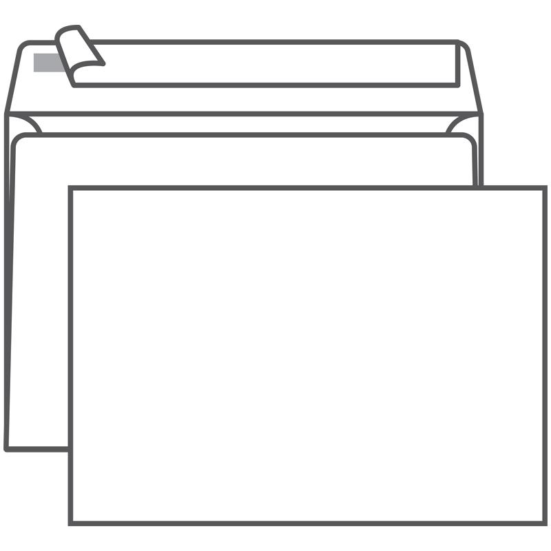 Конверт C5, Ряжская печатная фабрика, 162*229мм, б/подсказа, б/окна, отр. лента
