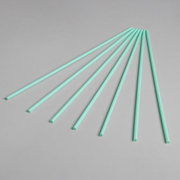 Трубочка для шаров, флагштоков и сахарной ваты, длина 41 см, d=6 мм, цвет бледно-зелёный