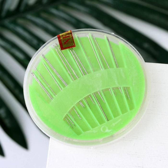 Иглы швейные в пластиковой коробочке, 16 шт, цвет МИКС