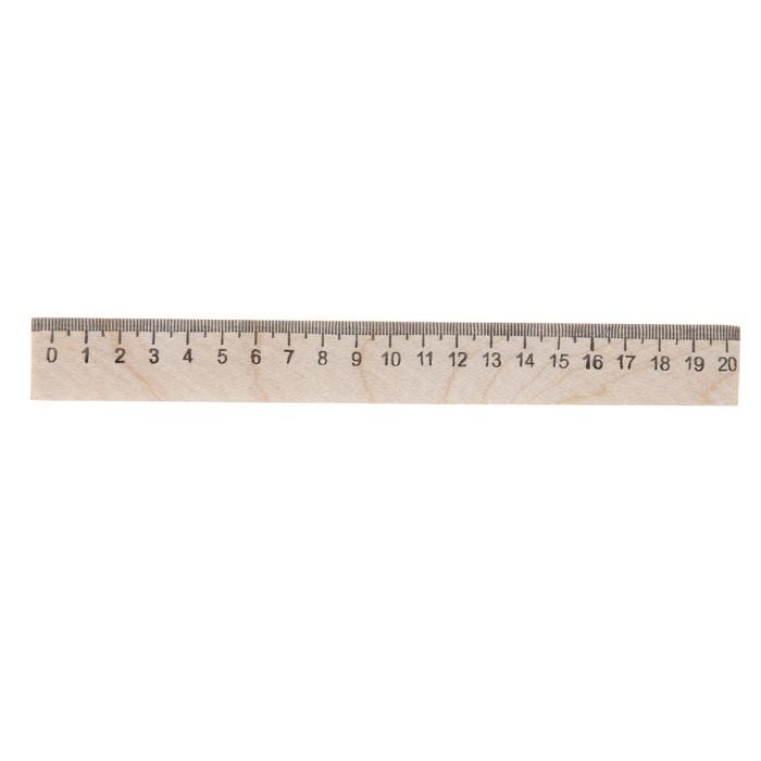 Линейка деревянная 20 см, Calligrata (штрих-код), Россия