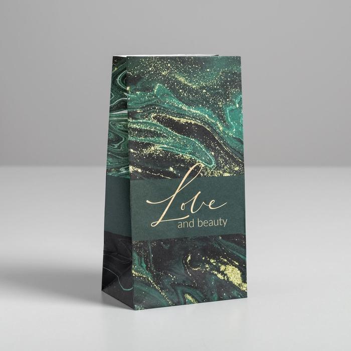 Пакет подарочный без ручек Love and beauty, 10 ? 19.5 ? 7 см