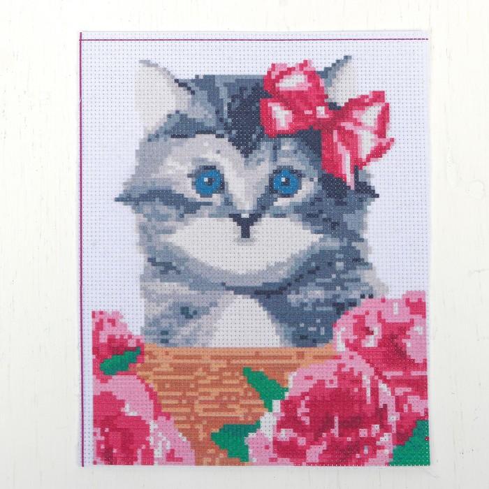 """Канва для вышивки крестиком """"Пушистый котенок"""", 25*20 см"""