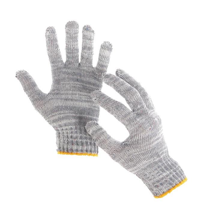 Перчатки, х/б, вязка 7 класс, 4 нити, размер 9, без покрытия, серые