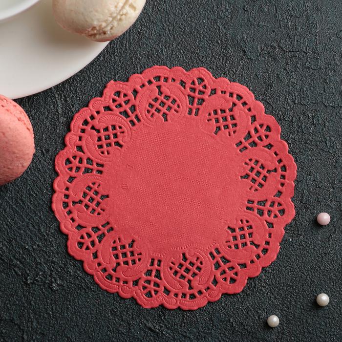"""Салфетка для торта и десерта 10 см """"Ажурный круг"""", цвет красный"""