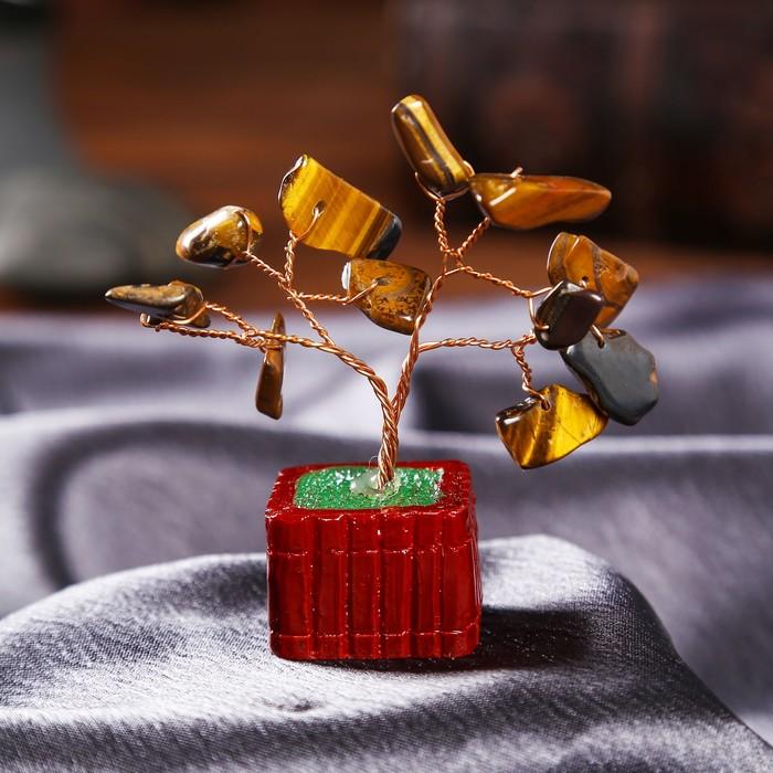 """Сувенир бонсай """"Денежное дерево с тигровым кристаллами"""" 12 шт 8х3х3,2 см"""