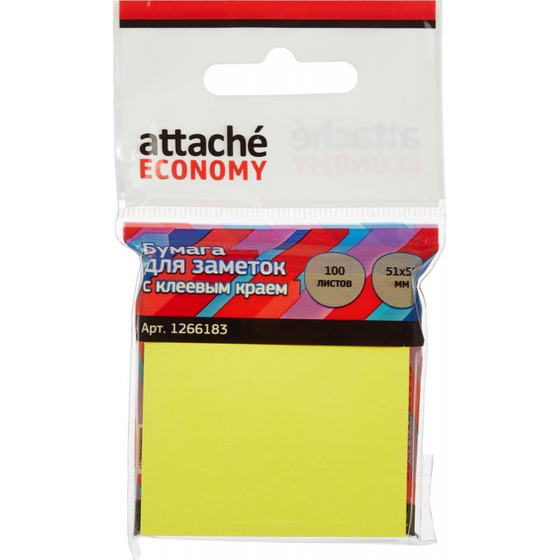 Стикеры Attache Economy с клеев.краем 51x51 мм 100 лист неоновый желтый