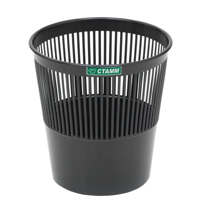 Корзина офисная 9л пластик, черная СТАММ КР21