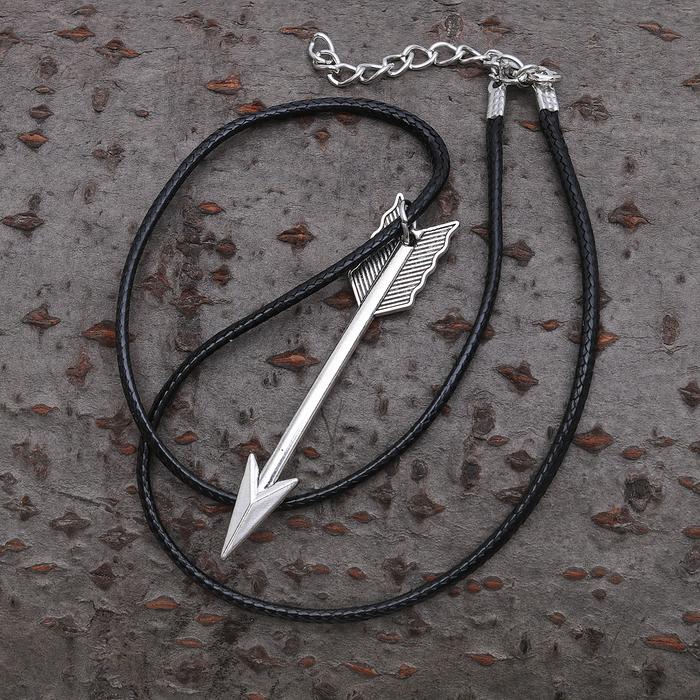 """Кулон унисекс """"Стрела"""", цвет чернёное серебро, 40см"""