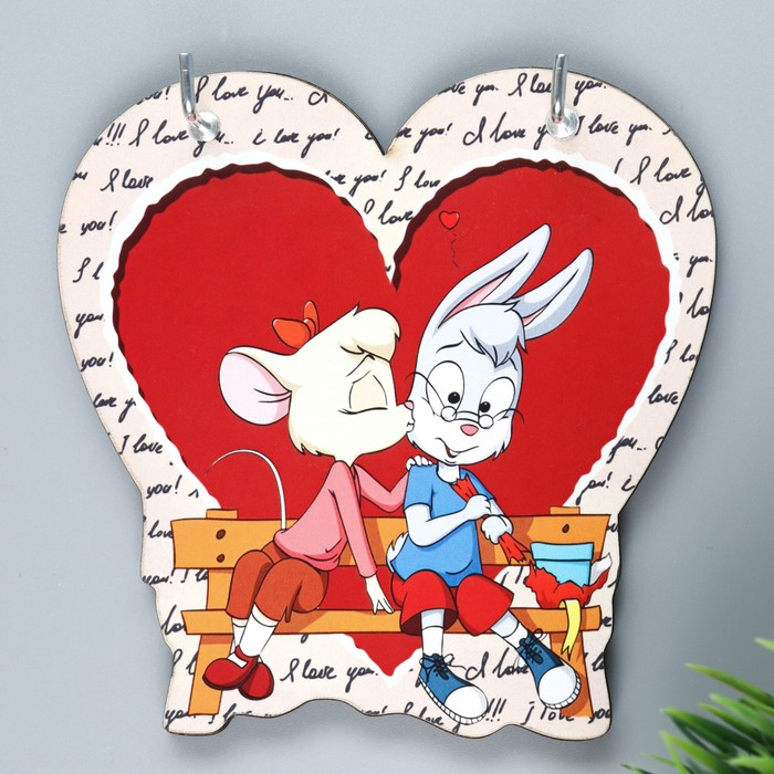 "Ключница ""Сердце. Мышка и зайка на лавке"""