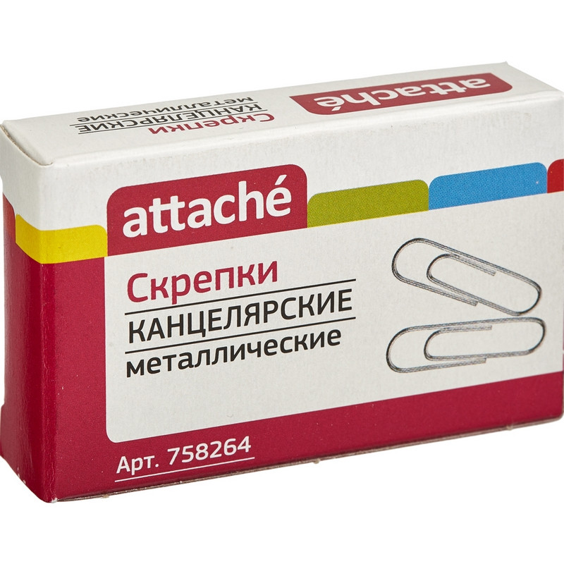 Скрепки Attache 28 мм, металлические б/покрытия, овальные 100шт./уп.к/кор