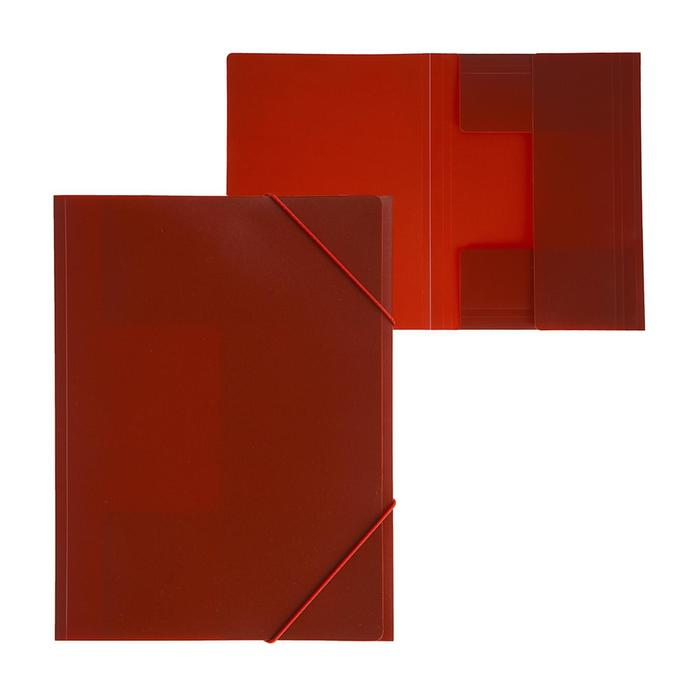 """Папка на резинке А4, 500 мкм, Calligrata, корешок 4 мм, до 300 листов, тиснение """"песок"""", красная"""