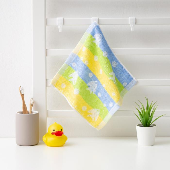 """Полотенце махровое Крошка Я """"Рыбки"""" 25*25 см, цв.желтый/синий, 100% хлопок, 360 гр/м2"""