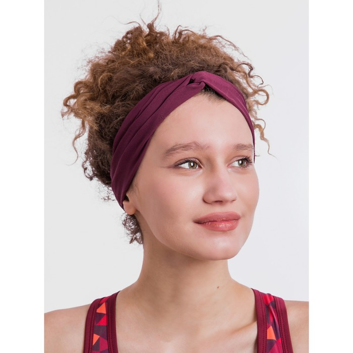Повязка на голову, цвет баклажановый, размер 56