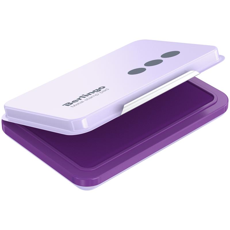 Штемпельная подушка Berlingo, 105*73мм, фиолетовая, металлическая