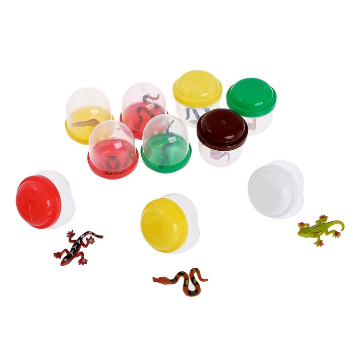 Набор игрушек в яйце «Рептилии», набор из 10 яиц, 28 мм