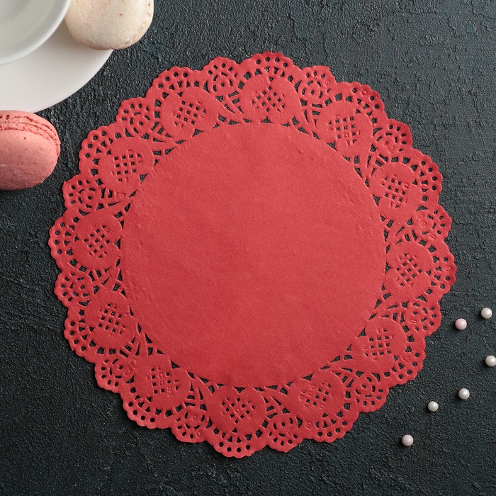 """Салфетка для торта и десерта 19 см """"Ажурный круг"""", цвет красный"""