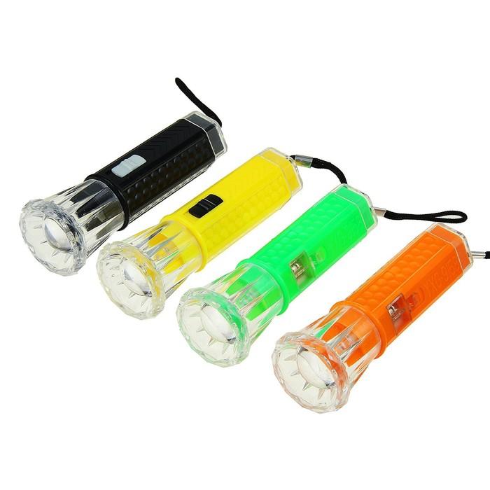 Фонарик ручной, 1 LED, рассеиватель, круглые батарейки в комплекте, микс, 10.5х3.5 см