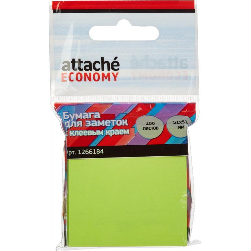 Стикеры Attache Economy с клеев.краем 51x51 мм 100 лист неоновый зеленый