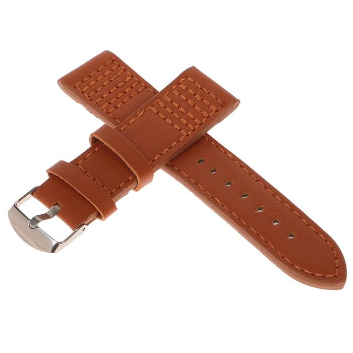 Ремешок для часов, 22мм, экокожа, коричневый с прострочкой, 20см