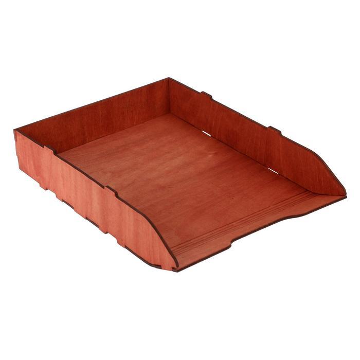 Лоток для бумаг горизонтальный, 320 х 225 х 55 см, деревянный (береза), цвет красное дерево