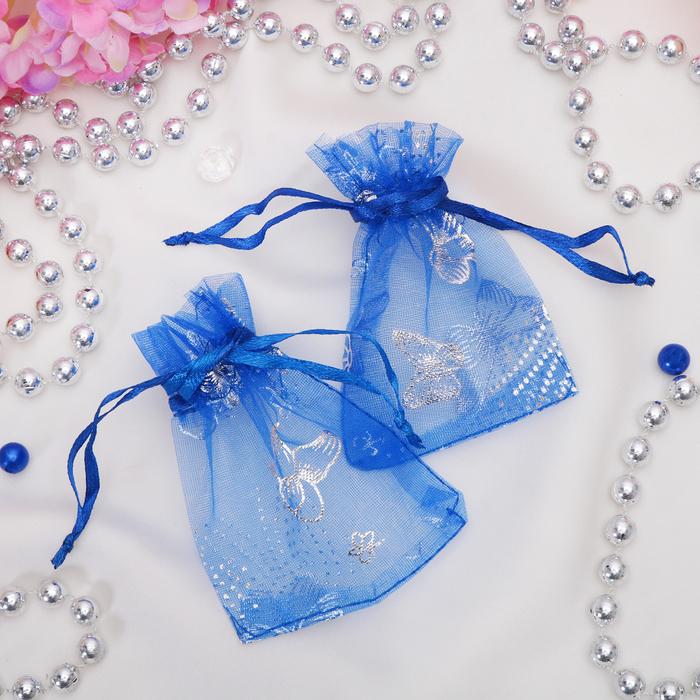 """Мешочек подарочный """"Бабочки"""" 7*9 цвет синий"""