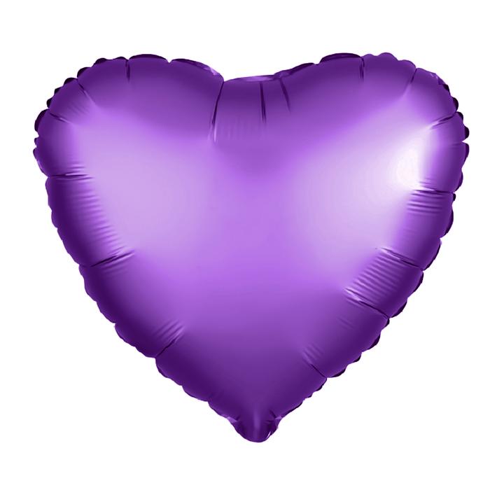 """Шар фольгированный 5"""" «Сердце» с клапаном, матовый, цвет фиолетовый"""