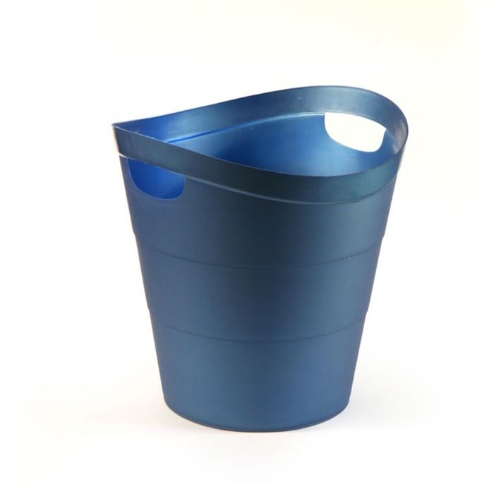 "Корзина для бумаг пластик цельная 14л Uni ""2002"", синяя"