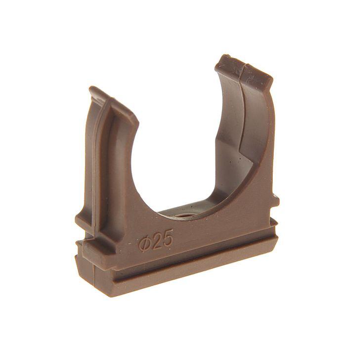 Крепеж-клипса для труб, d=25 мм, в наборе 10 шт, цвет темного дерева