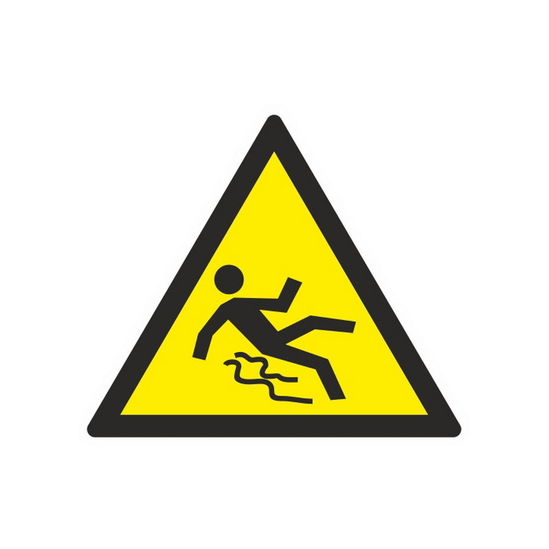 Знак безопасности W28 Осторожно. Скользко (плёнка,200х200)