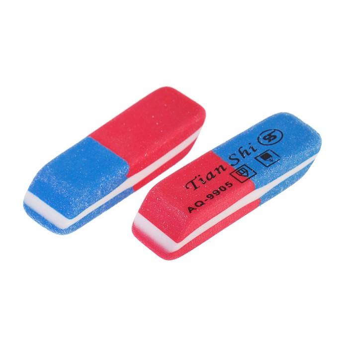 Ластик комбинированный Tian Shi, малый, красный/синий