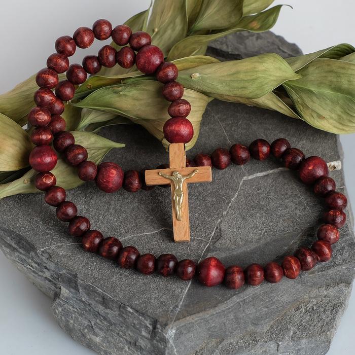 """Чётки деревянные """"Православные"""" с крестиком, 59 бусин, цвет коричневый"""