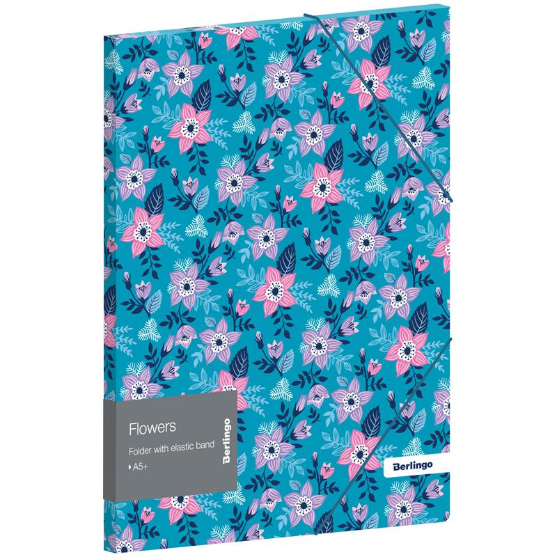 """Папка для тетрадей на резинке Berlingo """"Flowers"""" А5+, 600мкм, с рисунком"""