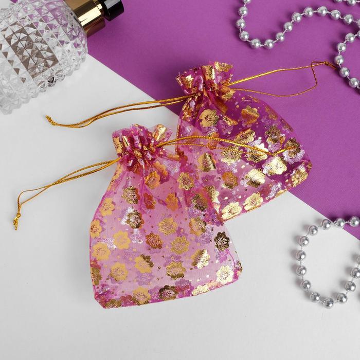 Мешочек подарочный 10*12, цветочки, цвет малиновый с золотом