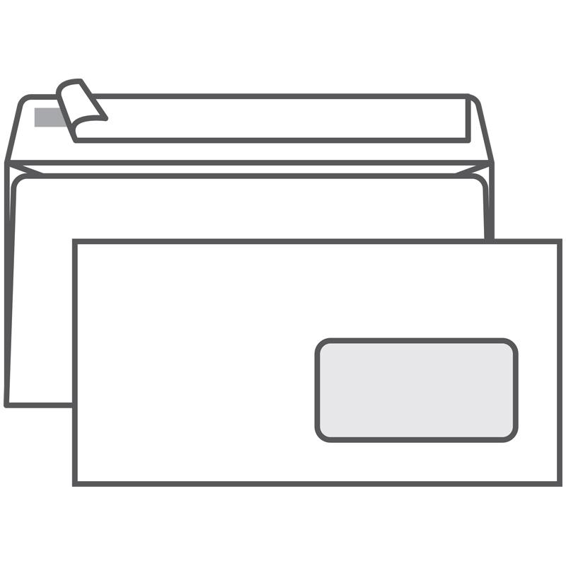 Конверт E65, Ряжская печатная фабрика, 110*220мм, б/подсказа, с прав. окном, отр. лента