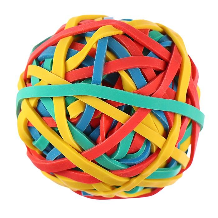 Банковская резинка 40 мм 79 г цветная, упаковка в форме шара