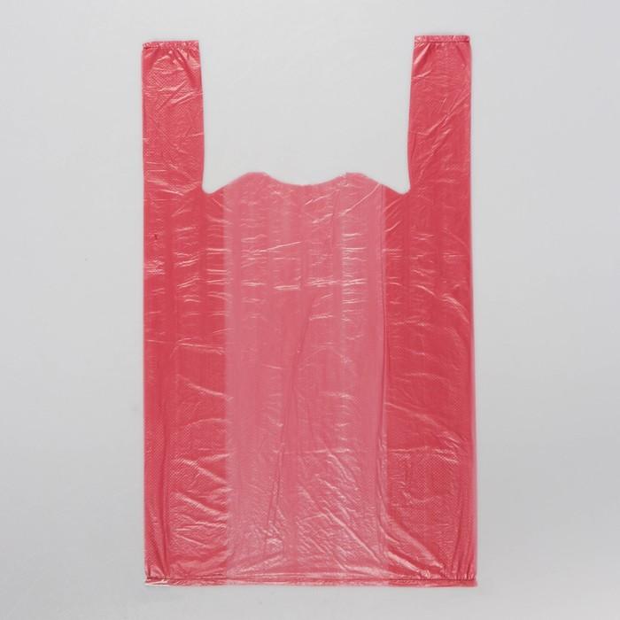 """Пакет """"Бордовый"""", полиэтиленовый, майка, 25 х 45 см, 9 мкм, микс"""
