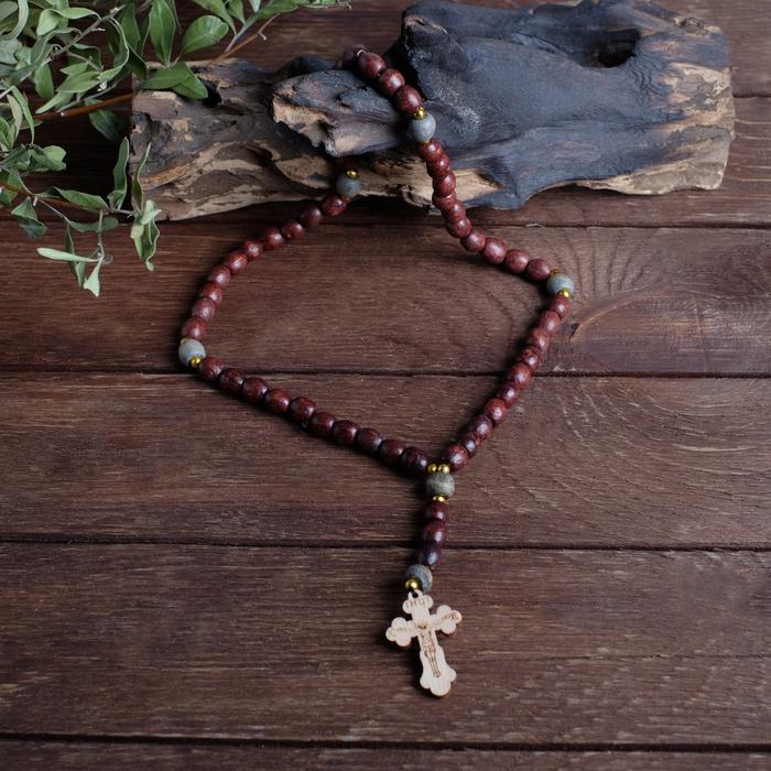 """Чётки деревянные """"Православие"""" с крестом, цвет коричневый"""