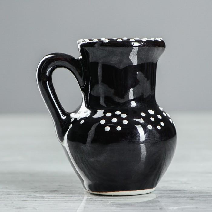 """Ваза настольная """"Кувшин"""", глазурь, цвет черный, 8 см, керамика"""