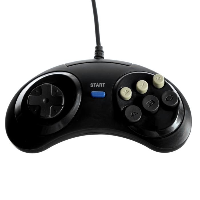 Геймпад для Sega 16-bit GP-100, 6 кнопок, 8 направлений, 9-Pin, чёрный