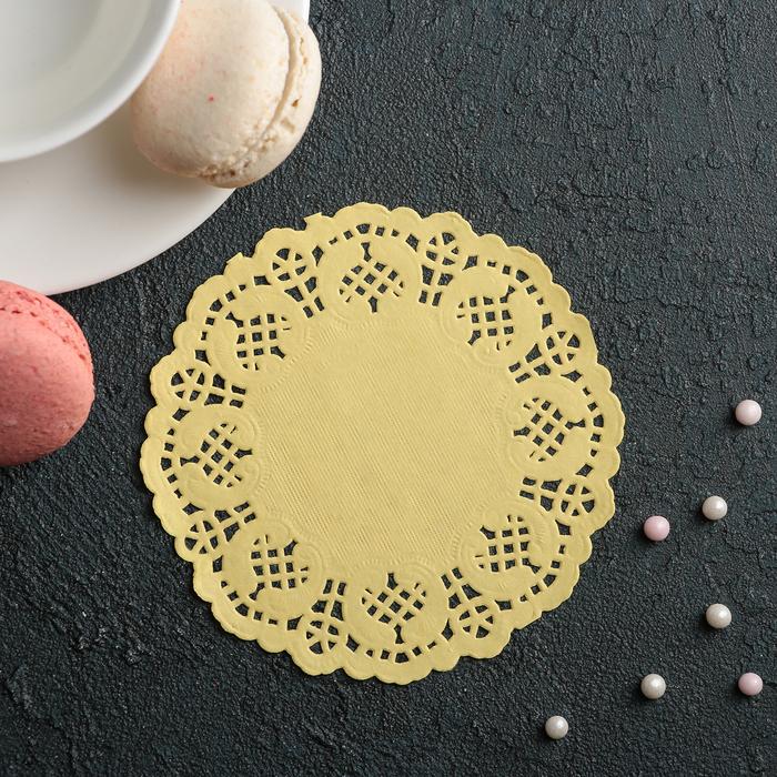 """Салфетка для торта и десерта 10 см """"Ажурный круг"""", цвет жёлтый"""
