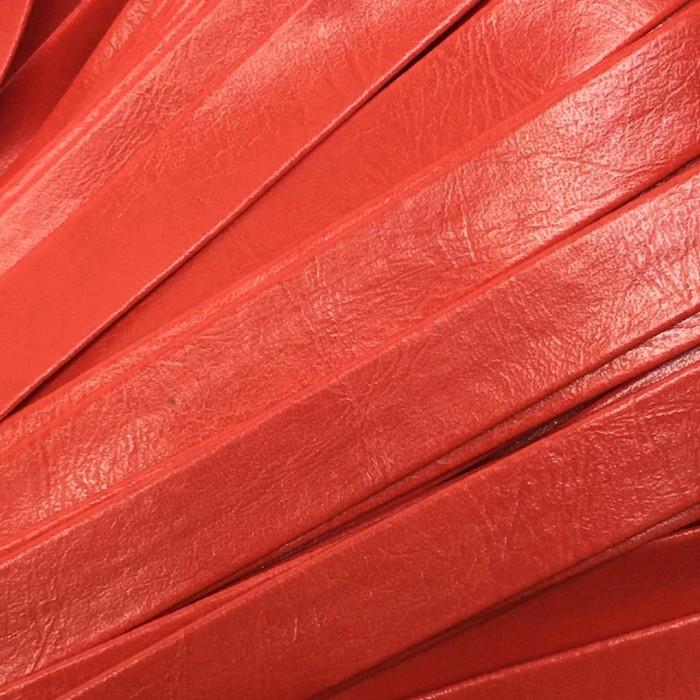 Шнур декоративный, кожзам, 10 мм, цвет красный