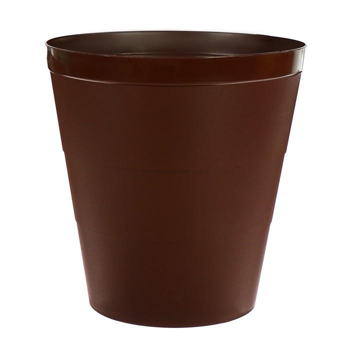Корзина для бумаг пластик цельная 14л Uni 14л коричневая