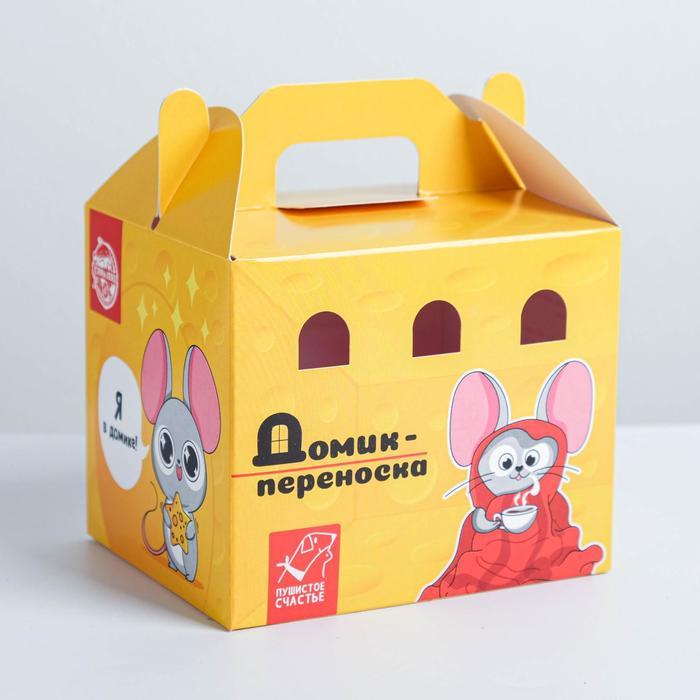 Переноска картонная для птиц и грызунов «Сырный дом»