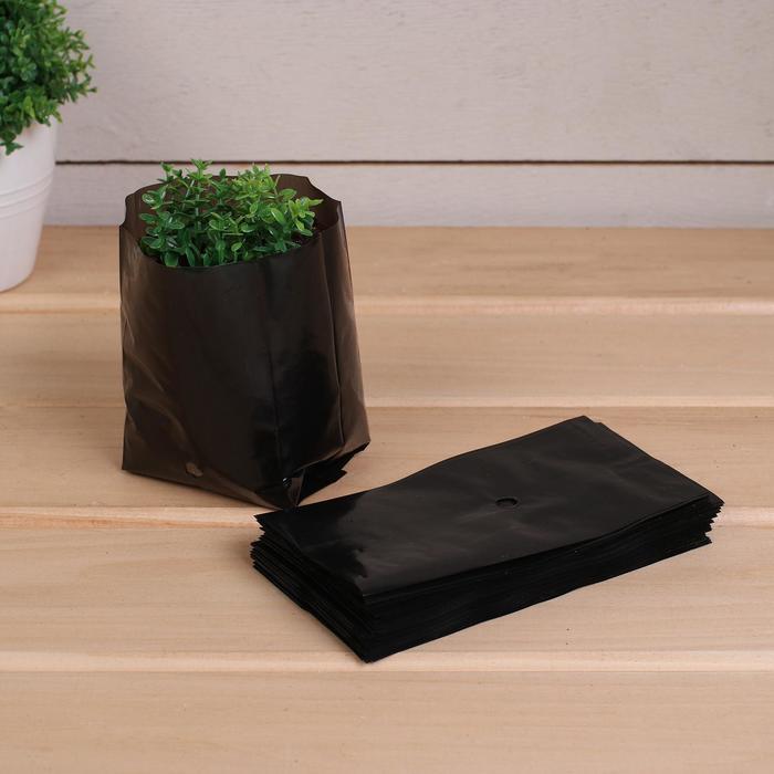 Пакет для рассады, 0,3 л, 13 ? 7 см, толщина 50 мкм, с перфорацией, чёрный